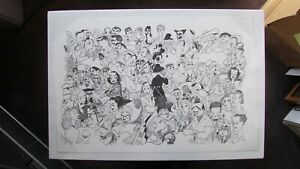 AL HIRSCHFELD LITHOGRAPH HOLLYWOOD MOVIE STARS OF THE GOLDEN AGE ERA UNSIGNED $400.00