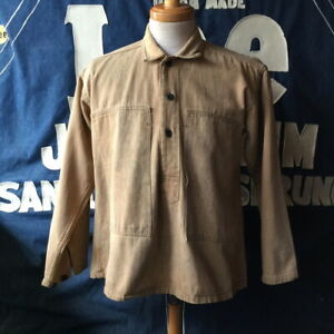 Vintage 1910's US Army Old Shirt Pullover Military Length 67cm Beige Y135