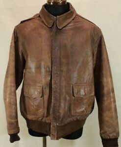 US Army Air Forces A-2 40's Vintage Leather Flight Jacket Size 46 Brown Y138