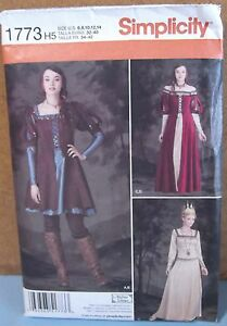 Simplicity #1773 Medieval Queen Princess Hunting Dress Costume Size 6 14