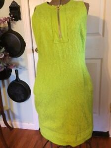 Per Se Lime Green Dress Sleeveless Size 16 Lined Zipper back and front $45.00
