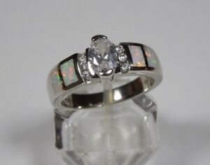 White Topaz & Fire Opal Inlay 925 Sterling Silver Ring Sz 6789