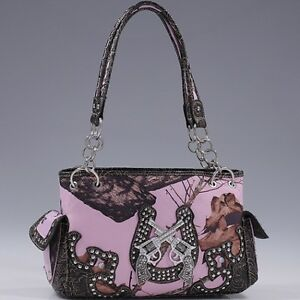 Brown and Pink Mossy Oak® Camo Two Guns with Horseshoe Accented Purse