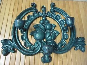 3 Candle Wall Mounted Sconce Decor Cast Iron Vintage Holder Green Fruit $10.00
