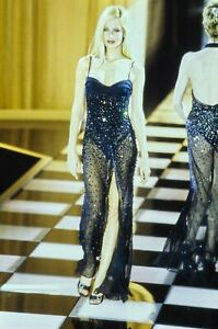 GIANNI VERSACE 1996 Vintage Runway Crystal Embellished Bustier Dress US4