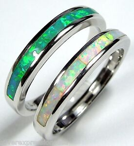 White & Green Fire Opal Inlay 925 Sterling Silver Band Ring Set Size 6 - 8
