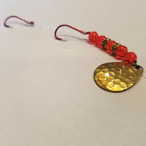 5 worm harnesses red beads double amber jeweled wedding ring Walleye. WHDRAG 5 $6.95