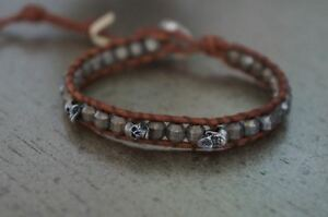 NEW Chan Luu Men Women Large Gunmetal Bead Skull Charm Wrap Bracelet W.Leather