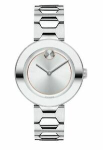 NEW Movado Bold Sunray Silver Dial & Bracelet  WOMENS Swiss Watch (3600381)
