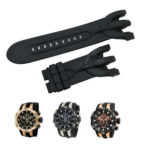 New Black Silicone Rubber Watch Band Strap For Invicta Venom Reserve Chronograph