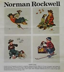 NORMAN ROCKWELL quot;PUPPY LOVEquot; SUITE 4 signed lithographs artist proofs $18500.00