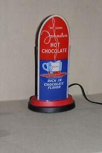 SCARCE 1930's JOHNSTON HOT CHOCOLATE  REVERSE GLASS BULLET LIGHTED SIGN