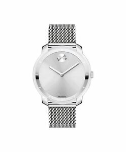 *BRAND NEW* Movado Women's Bold All Silver Tone Mesh Bracelet Watch 3600241