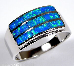 Blue Fire Opal Inlay Genuine 925 Sterling Silver Men's Women Band Ring 6789