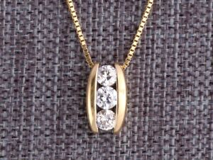 $995 3 Stone Diamond Pendant Necklace 14K Gold