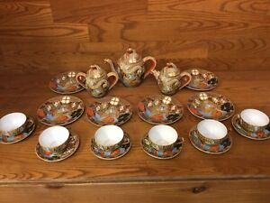 Japan Satsuma Dragonware Moriage Tea Set Pot Creamer Sugar Plates ETC Excellet