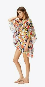 TORY BURCH Kaleidoscope Beach Caftan Sweet Tangerine Size: M/L NEW