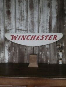 WINCHESTER Vintage Metal Sign Board White × Red Logo Antique Shop Display Y97
