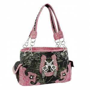Pink Mossy Oak® Camo Two Guns with Horse Shoe Accents Purse