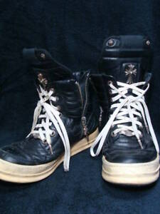 CHROME HEARTS × RICK OWENS Sneakers Size 42 12 Black × White Leather Y71