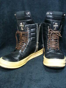 CHROME HEARTS × RICK OWENS Sneakers Boots Black Size 45 Leather Silver Y71