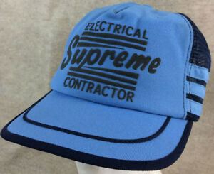 Vtg Electrical Supreme Contractor 3 Stripe Snapback Hat Baby Blue Made In USA
