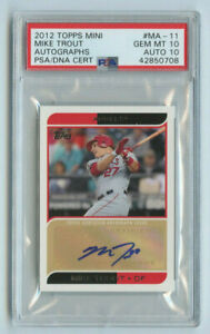 2012 TOPPS MINI AUTO CARD ANGELS MIKE TROUT PSA GRADED - 10