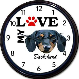 Dachshund Dog Puppy Wall Clock I Love My Dachshund Canine Dogs New 10quot;