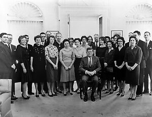 1961 Photo of President John F. Kennedy and His Staff in Oval Office