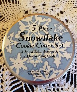 5 Piece Snowflake Cookie Cutter Set Stainless Steel Holiday Decorating Baking $14.95