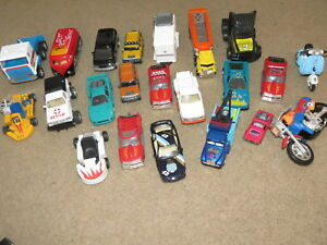 Lot of 22 play toy cars trucks motorcycle trailers scooter van
