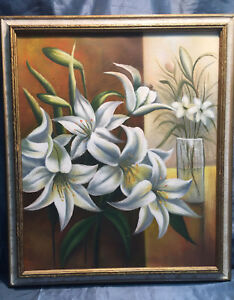 Original Vintage Signed Floral Orchid Lily Oil Painting $77.99