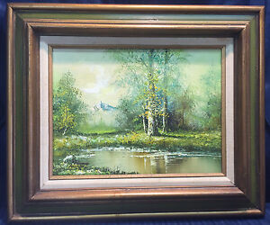 VINTAGE ARTIST SIGNED OIL PAINTING LANDSCAPE STREAM WOODS COUNTRY $54.99