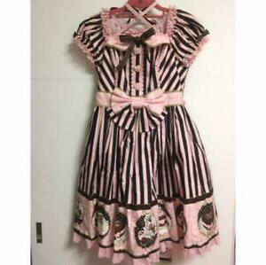 Angelic Pretty Ladies Dress Pink × Black with Katyusha and socks Cute M14