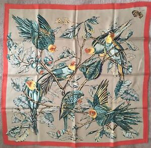 Wathne 100% Silk Made in Japan Scarf Carre rolled edges parrots tropical palm
