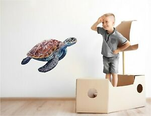 Sea Turtle #2 Wall Decal Removable Watercolor Wall Sticker Sea Ocean Wall Art