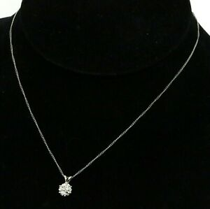 14K white gold .21CT VS1G diamond cluster pendant necklace
