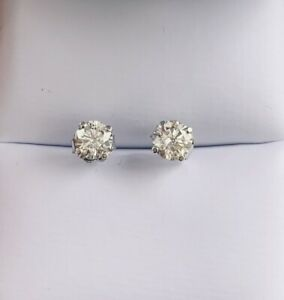 14k white gold Natural Diamond Stub Earrings  .97 CTW GSI !