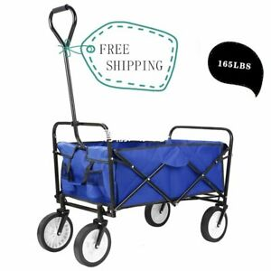 Collapsible Wagon Portable Rolling Heavy Duty 165lbs Capacity Canvas Fabric Cart