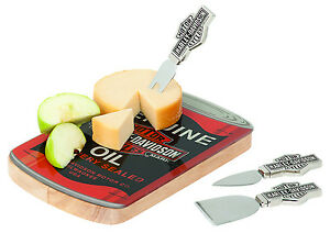 Harley-Davidson Oil Can Wood Cheese Cutting Board Stainless Steel Set HDL-18537