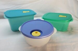 New Tupperware Rectangle/Round Crystalwave Microwave set of 3 Blue