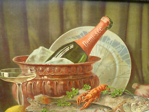 Antique 1900 old French big still life Champagne chromolithography framed $99.00