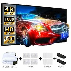 Projector Screen 120 Inches 169 Portable Indoor Outdoor Projection Polyester