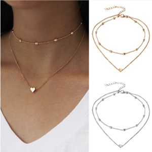 Heart Choker Necklace Set Gold or Silver  12