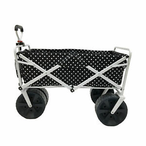 Mac Sports Heavy Duty All Terrain Folding Beach Wagon, Black Dots (Open Box)
