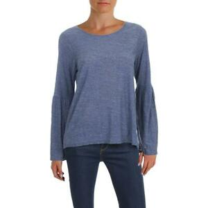 Vince Camuto Womens Blue Bell Sleeves Heathered T-Shirt Top M BHFO 8562