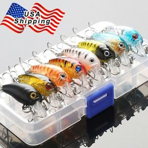 8Pcs Fishing Lures Kit Treble Hooks Crankbait Tackle Bass Minnow Baits With Box