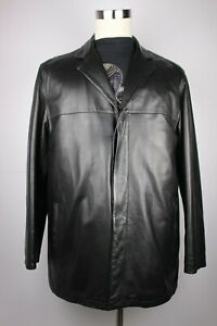 Mens Salvatore Ferragamo Lambskin Leather Jacket Car Coat Cashmere Italy 42 52