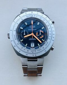 Huge Old 1970s Tag Heuer Calculator Mens Watch Cal 12 + Box & Papers - MINT!!