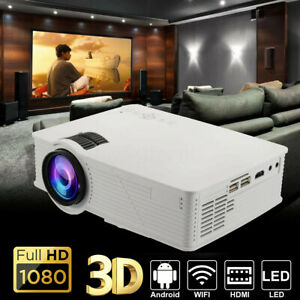 LED Projector Android 6.0 Wifi bluetooth 4K 1080P Home Theater Cinema Movie US